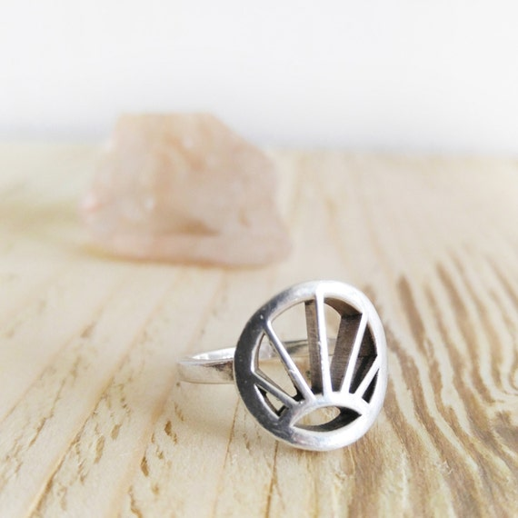 sun ring jewelry with meaning silver ring geometric