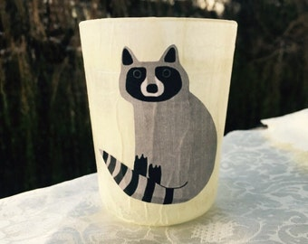 Glass Candle Holder - Raccoon Made to Order