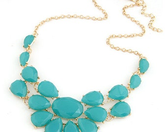 J Crew Inspired Turquoise Jewel Bib Statement Necklace with Gold Accents--FREE SHIPPING!