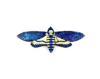 Blue Moth Pin // UK Sellers Only, Handmade Brooch, Kitsch Brooch, Art Brooch, Art Jewelry, Mixed Media Brooch, Graphic Brooch //Exotic 7