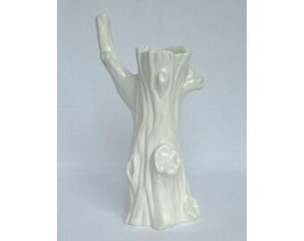 White Faux Bois Vase