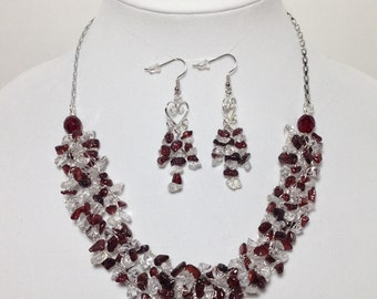 Genuine Natural Red Garnet, Quartz Crystal, Non-Tarnish Silver Plated Wire, Chain, Wire Crochet, Necklace, Earrings