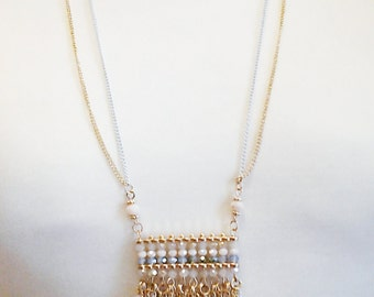 Gold and White Chain Long Necklace / Beige and Blue Crystal Beads Long Necklace.