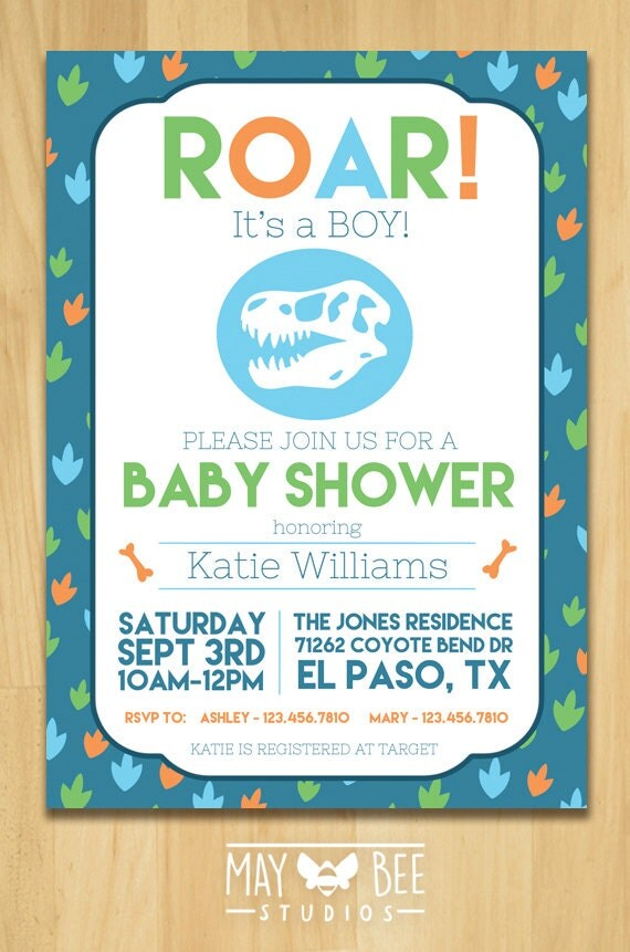 dinosaur baby shower invitation by maybeestudios on etsy