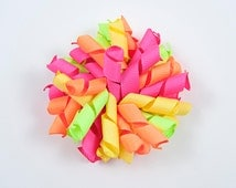 Neon Korker Bow, Neon Hair Bow, Neon Curly Bow, Neon Loopy Bow, Summer Hair Bow, Bright Hair Bow (Item #10085)