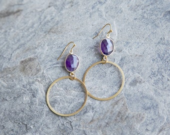 SALE 40% OFF! Amethyst and gold-plated Hoop earrings // statement earrings // hoop earrings