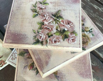 Coasters Wood Decoupage decorative coasters and roses Kitchen Set of 6 coasters Vintage decoupage coasters Tea time coasters Gift for mom