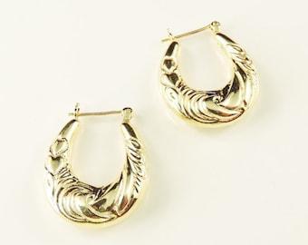 14k Yellow Gold Textured Hollow Hoop Earrings
