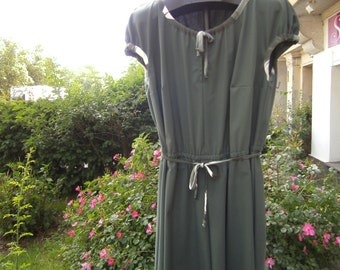 green Dress -  Plus Size Clothing - Dress XXL - Cotton Dress - handmade Dress - Midi-Dress - short sleeves Dress -  -  Puff sleeves