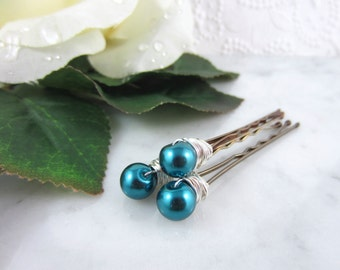 Pearl Hair Pins - Silver Pearl Hair Pins - Teal Hair Pins - Teal Pearl Hair Pins - Wedding Hair Accessories - Bridal Hair Pins - Teal Blue