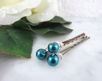 Pearl Hair Pins - Silver Pearl Hair Pins - Teal Hair Pins - Teal Pearl Hair Pins - Wedding Hair Accessories - Bridal Hair Pins - Teal Blue
