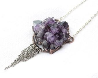 Massive Statement Purple Druzy Amethyst Stalactite Flower Crystal Chain Fringed Tassel Pendant/Necklace Electroformed in Copper