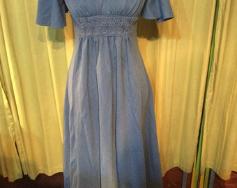 Vintage Retro Blue 1970s Maxi Dress by Van Allan UK Size 10 12