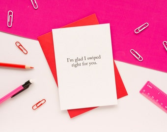 Tinder Anniversary Card. Funny Valentine's Day Card. 100% Recycled