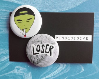 Loser Squad - PartyPack - 1.25 inch Pinback Button Set of 2 - button, badge, pin, pin-back, alien, smoke, grunge, punk, sick, rad, dope