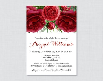 Red Baby Shower Invitation Printable or Printed - Red Roses Flower Baby Shower Invites - Winter, Christmas Roses Baby Shower Invitation 0062