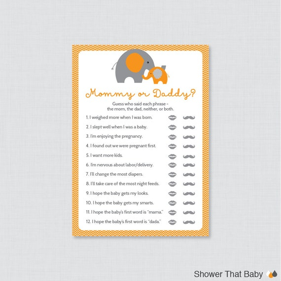 Good Elephant Mommy Or Daddy Baby Shower Quiz   Baby Shower He Said She Said Game    Orange Elephant Themed Baby Shower Phrases Quiz Game   0024 O