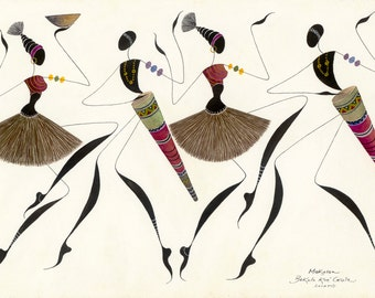 "African Dancers Print, MAKOSSA 12""x18"" (30,5cmX 45,5cm)  Giclee Print, African Painting, African Tribal Dance, African Unique Gift"