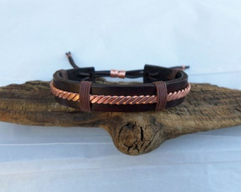 Leather and Copper Bracelet - Men's Leather and Copper Bracelet - Mens Leather Bracelet- Mens Copper Bracelet - ColeTaylorDesigns