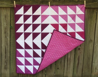Modern Purple Triangle Baby Quilt with Metallic Silver