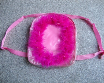 CUTE LITTLE BACKPACK -pink, hairy, feathers, barbie, spice girls, vapor wave, cyber, club kid, 90s, seapunk, festivals, transparent-