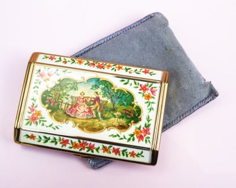 Powder Compact, Vintage Compact, Melissa Compact, Romantic, Painting, Floral Pattern, Compact Mirror, Handheld, Makeup Case - 1940s / 1950s