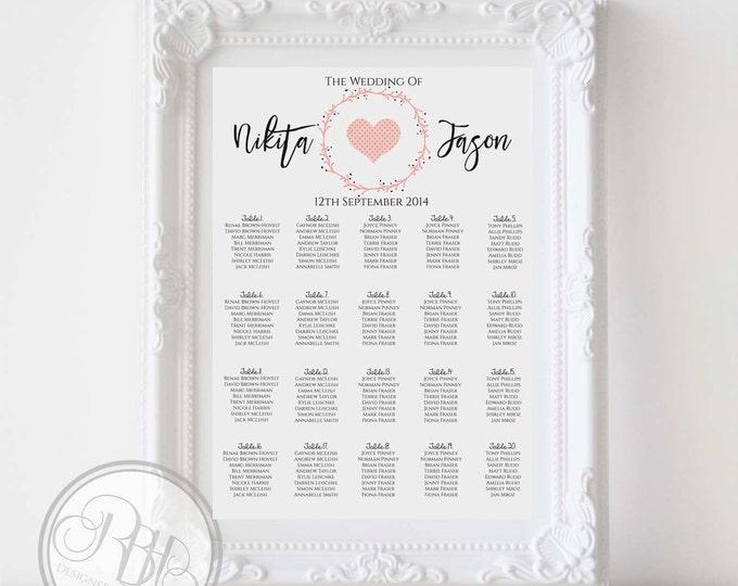Pink Wreath Heart Wedding Seating Chart - Rustic White Pink Wreath Heart Digital Files DIY Printable Seating Chart Plan- Kymberley