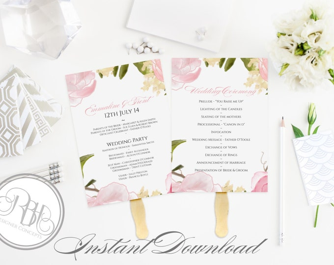 Pink Peonies Roses Wedding Program Fan Template -Instant DOWNLOAD - EDITABLE TEXT pdf Only - Pink Peonies Roses Watercolor 5 x 7-Juliet