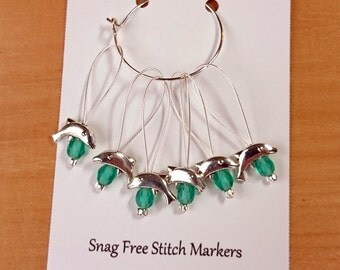 Knitting Stitch Markers, Snag Free Beaded Knitting Stitch Markers, Set of 6 silver plated Dolphin Bead stitch markers