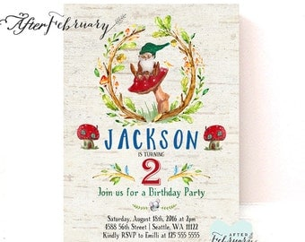 Gnome Birthday Invitation Boy Birthday Gnome Invitation Watercolor Gnome Vintage Birch Background Printable No.177KIDS