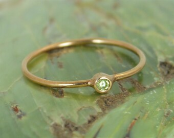 Tiny Peridot Ring, Solid 14k Rose Gold, August Ring, Peridot Ring, Rose Gold Ring, Dainty Ring, Dainty Peridot, Mother's Ring, Alari
