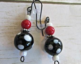 Black and White Earrings, Black Polka Dot Earrings, Mothers Day Gifts, Black Earrings, Red Earrings, White Earrings, Birthday Gifts Women,
