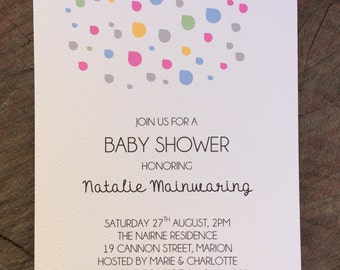 Baby Shower Raindrops Invitation includes envelope, 270gsm heavy card