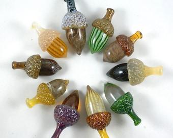 10 Wholesale Glass Acorns- solid hand sculpted glass oak acorns, fall colors, green, brown, golden, oak trees, sculpture, unique gift idea
