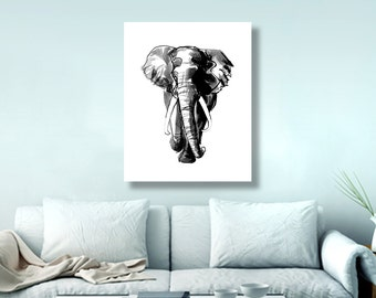African elephant, african painting art, elephant nursery, bedroom wall art, black white, safari animals, ink drawing, elephant decor 24x36