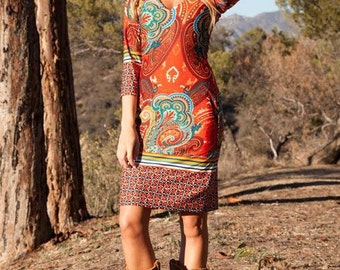 Paisley -  boho western dress, womens dress, bohemian dress, country boho style dress