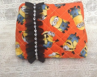 SALE! Minion Cosmetic Bag / Kevin / Staurt / Bob / Minions / Travel Bag With Ruffle And Rhinestones