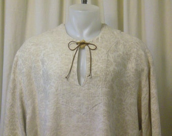 Men's Pirate, Peasant, Fantasy Ivory Heathered Cotton Brocade Shirt, Size XL