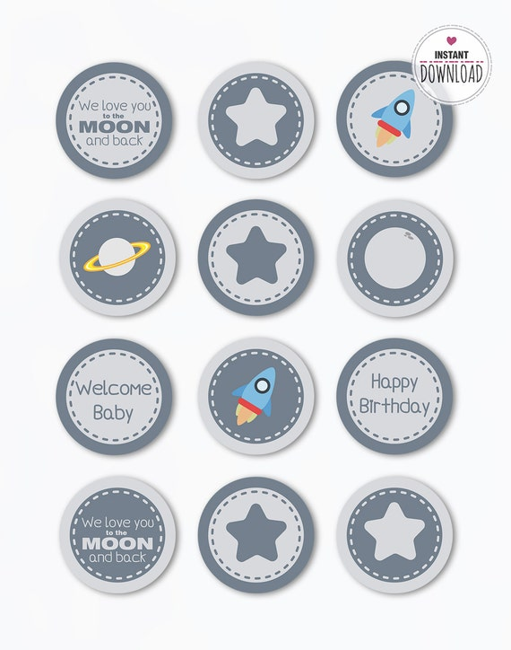 Instant Download Space Party Cupcake Topper Printable