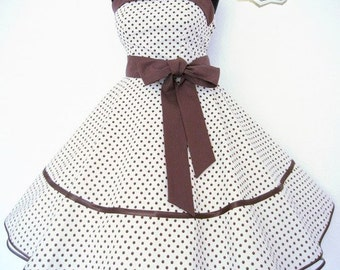 "Retro dress ""Lola "", white with brown dots"
