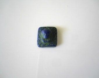 Vintage Blue Green Egyptian Revival Glass Vintage Glass Pharaoh Cameo Glass King Tut Blue Vintage Cameo 16mm (1 pc) 61V5