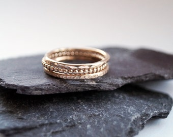 12K Gold Filled Texture Stacking Rings ~ stacking ring, gold, gold filled, hammered, textured, stackable, beaded, modern