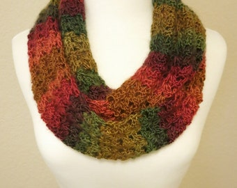 Crochet Infinity Scarf in Fall Colors