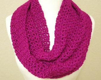 Crochet Infinity Scarf in Sparkly Fuchsia