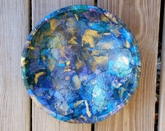 Decorative Bowl in Shades of Blue, Black  & Gold OOAK