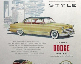 1953 Dodge Coronet V8 Club Coupe Ad - 1950s Classic Car Advertising Art - Watercolor Ad Art