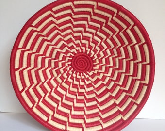 Hand Woven Sisal Basket - Step Pattern - Red/Natural