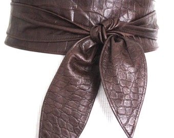 Brown Croc effect Leather Obi Belt  | Leather corset belt | Leather Sash Belt | Wide Waist Belt | Plus Size accessories | Brown Corset Belt