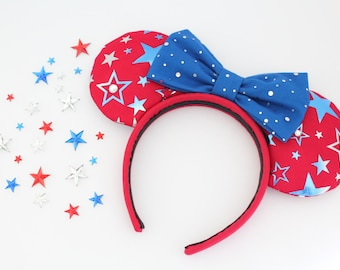 Fourth of July Mouse Ears, Patriotic Mouse Ears, July Fourth Mouse Ears, July 4th Mouse Ears, Mouse Ears, Minnie Mouse Ears, Minnie Ears