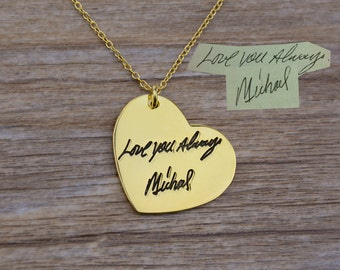 Gold Signature Necklace,Handwriting Necklace,Personalized Jewelry,Engraved Necklace,Heart Jewelry,Unique Necklace,Christmas Gift N016